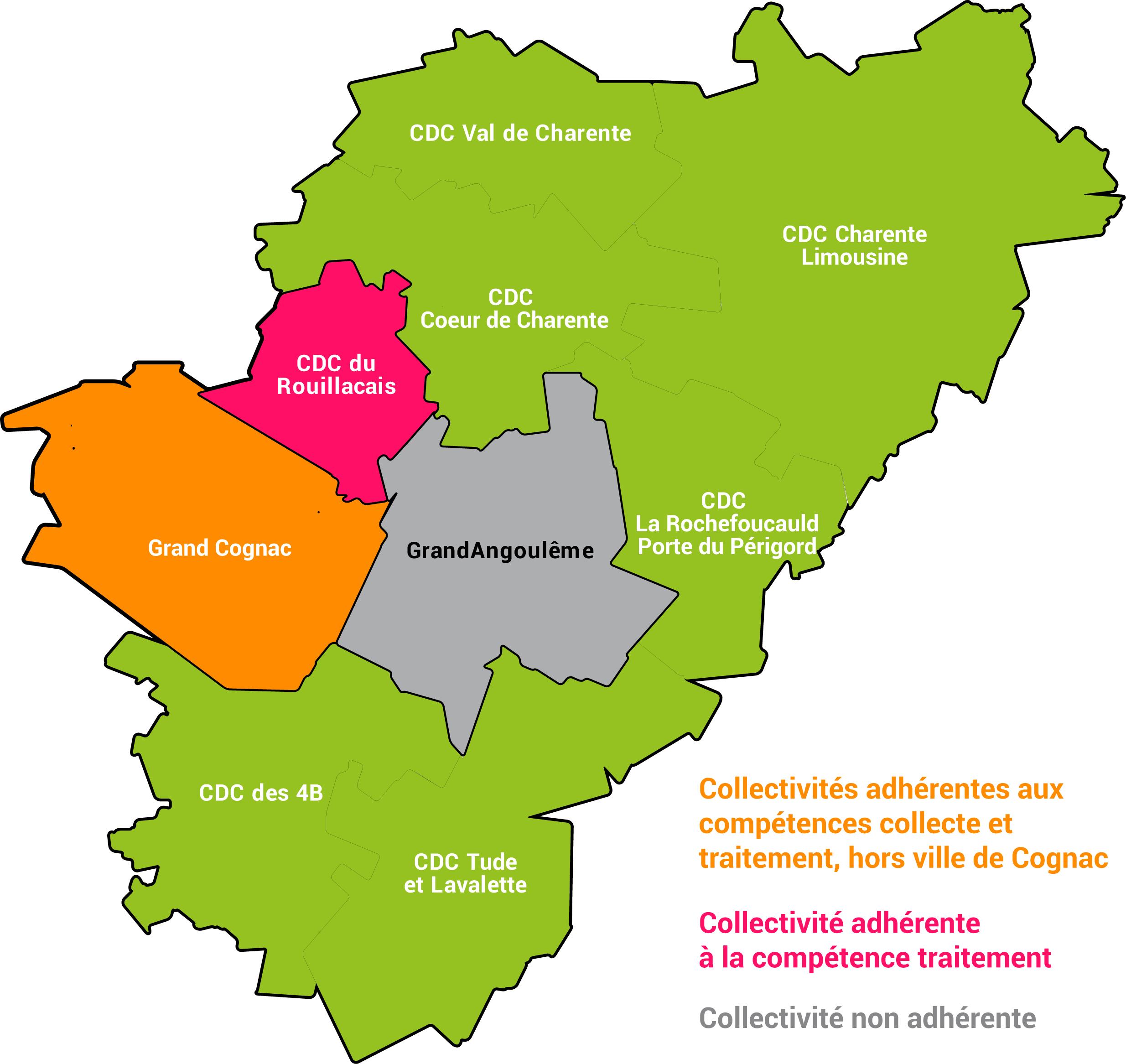Carte collectivités adhérentes Calitom