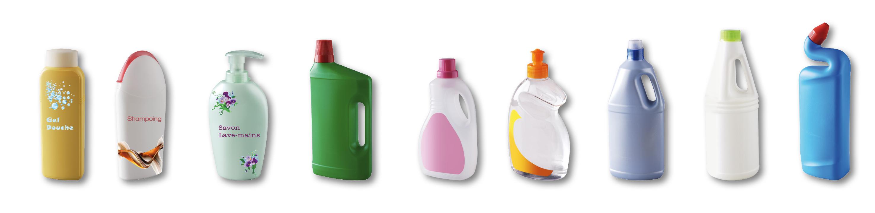 Flacons produits toilettes et ménagers